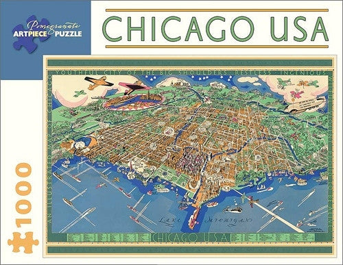 Chicago usa map 1000 piece jigsaw puzzle poster plus chicago usa map 1000 piece jigsaw puzzle gumiabroncs Gallery