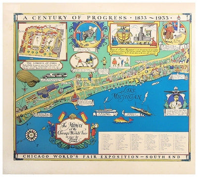 Chicago World's Fair Map diptych, 1933 - Numbered Limited Edition reproduction (LARGE)