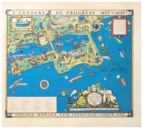 Chicago World's Fair Map diptych, 1933 - Numbered Limited Edition  on world cotton centennial map, ny world fair pavilion map, world fair site map, seattle center map,