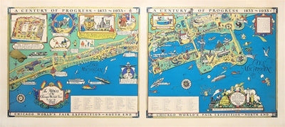 Chicago World's Fair Map diptych, 1933 - Numbered Limited Edition reproduction (SMALL)