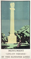 Oscar Rabe Hanson, Monument (Small Format)- Logan Square by the Elevated Lines - numbered limited edition