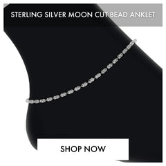 STERLING SILVER MOON CUT BEAD ANKLET