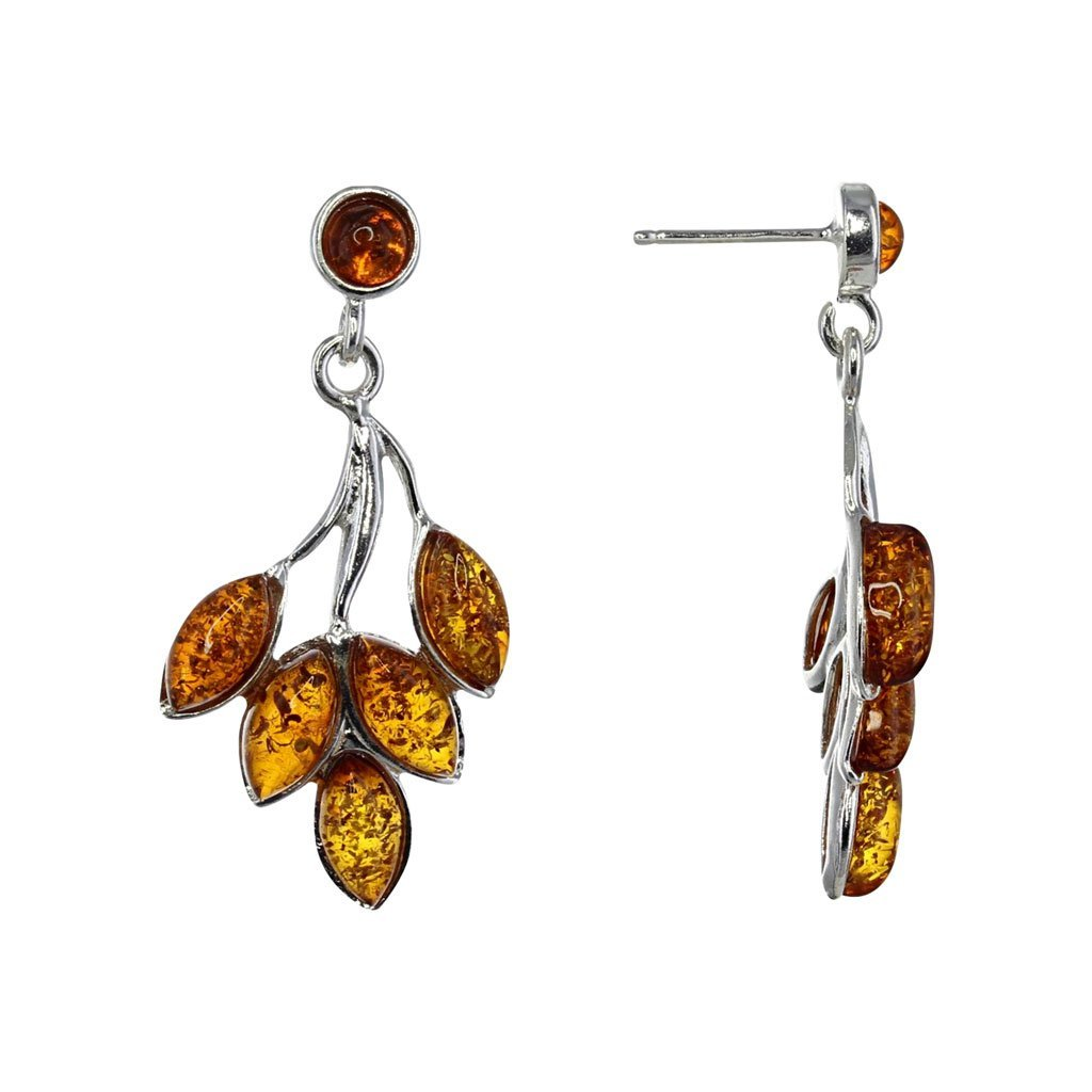 Honey Amber Bamboo Earrings in Sterling Silver