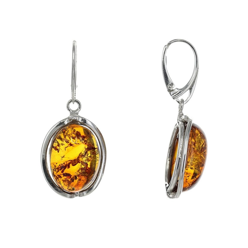Honey Amber Domed Oval Earrings in Sterling Silver
