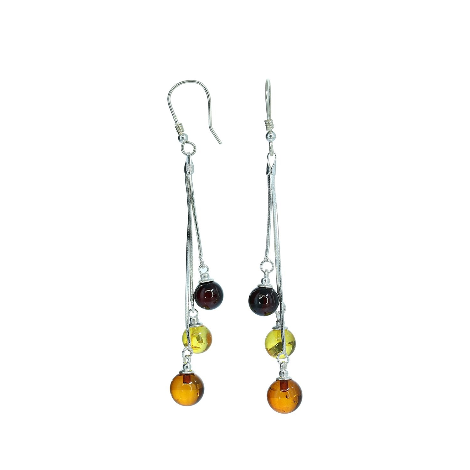 Amber Collection Earrings Three Ball Multi-Color Amber Hook Earrings in Sterling Silver