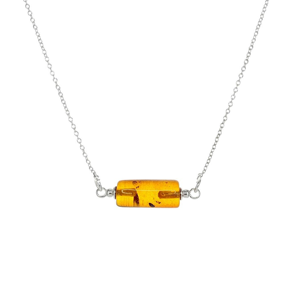 Stunning Amber Bar Necklace in Sterling Silver
