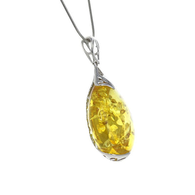 Citrine Amber Teardrop Pendant with Sterling Filigree