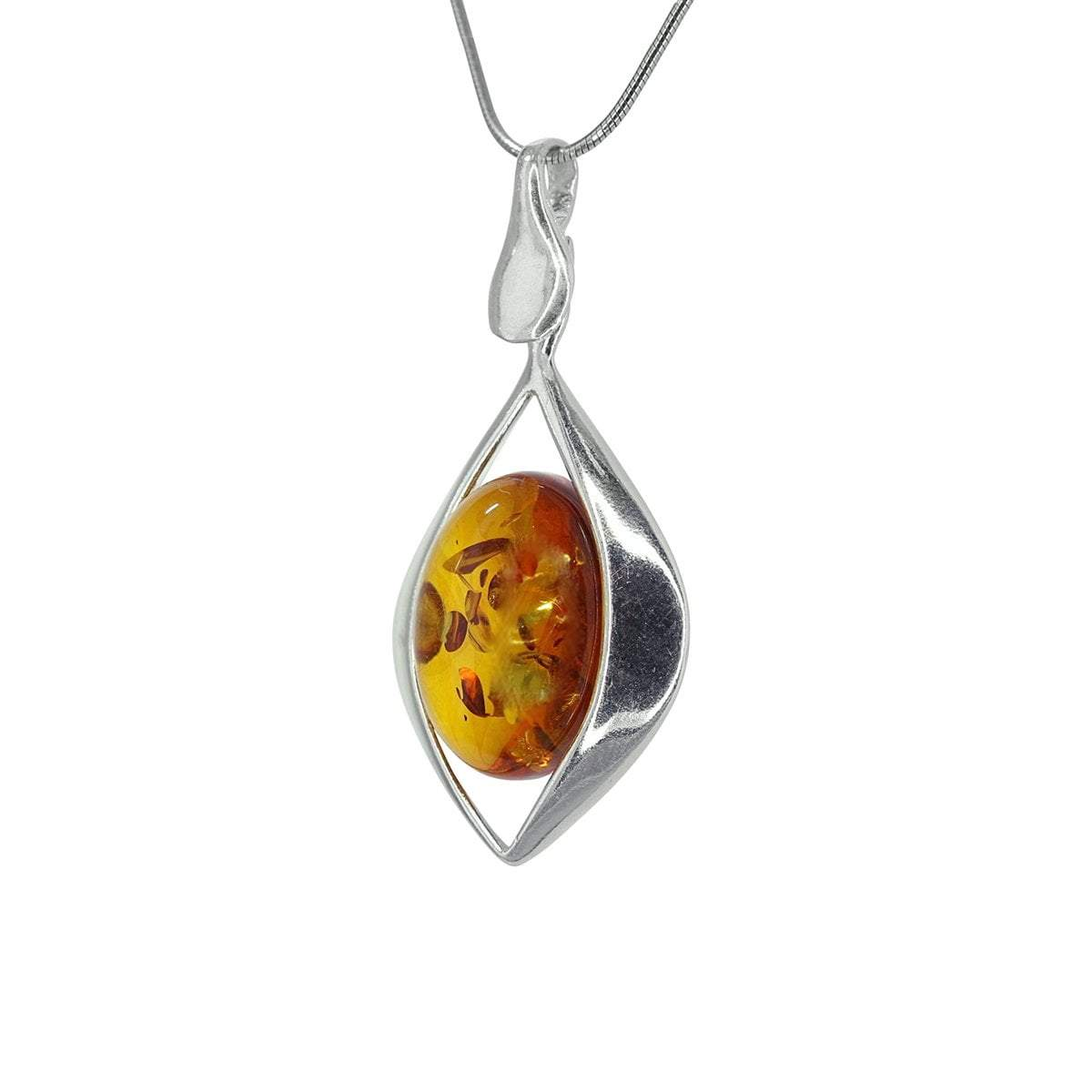 Honey Amber Oval Pendant with Silver Diamond Design Detail