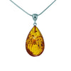Honey Baltic Amber Teardrop Pendant with Sterling Silver Bail