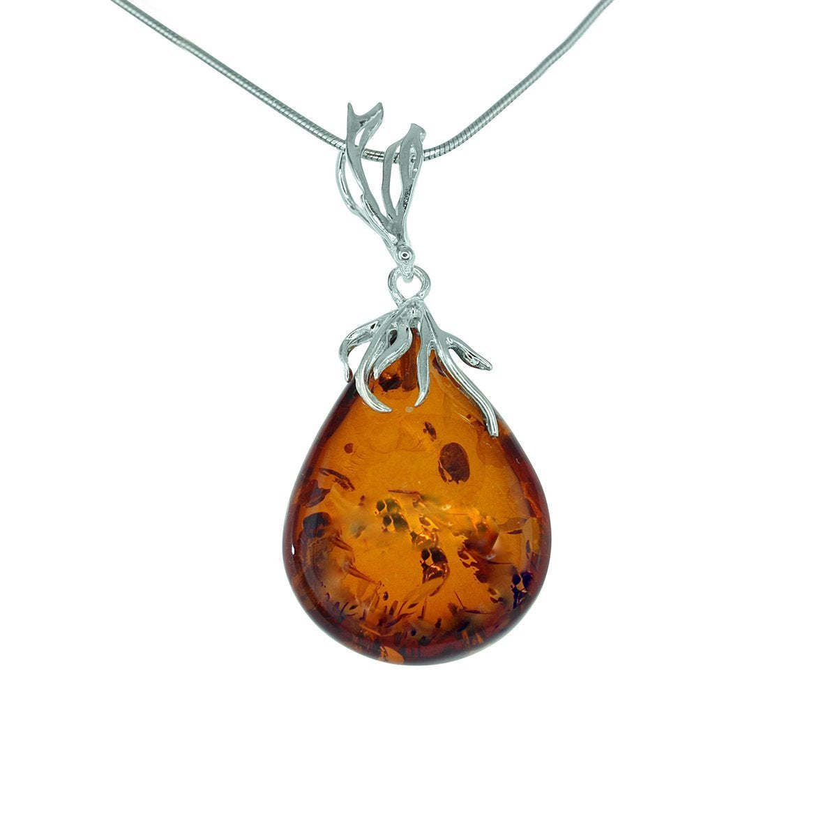 Honey Baltic Amber Teardrop Pendant with Sterling Silver Detail