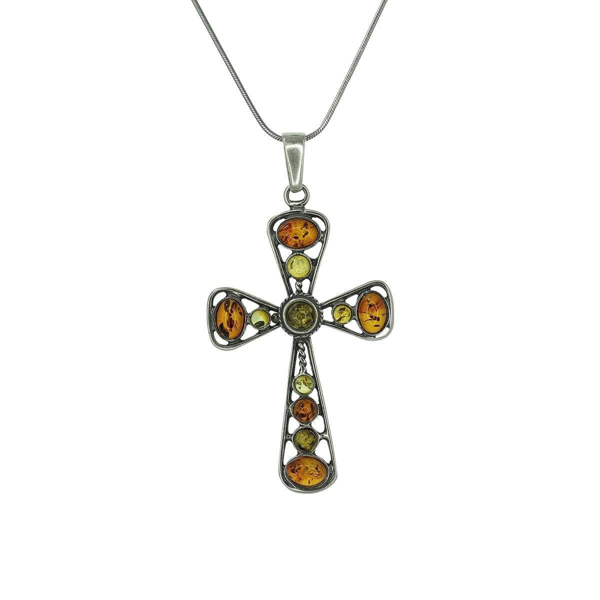 Multi-Color Amber Cross Pendant in Sterling Silver