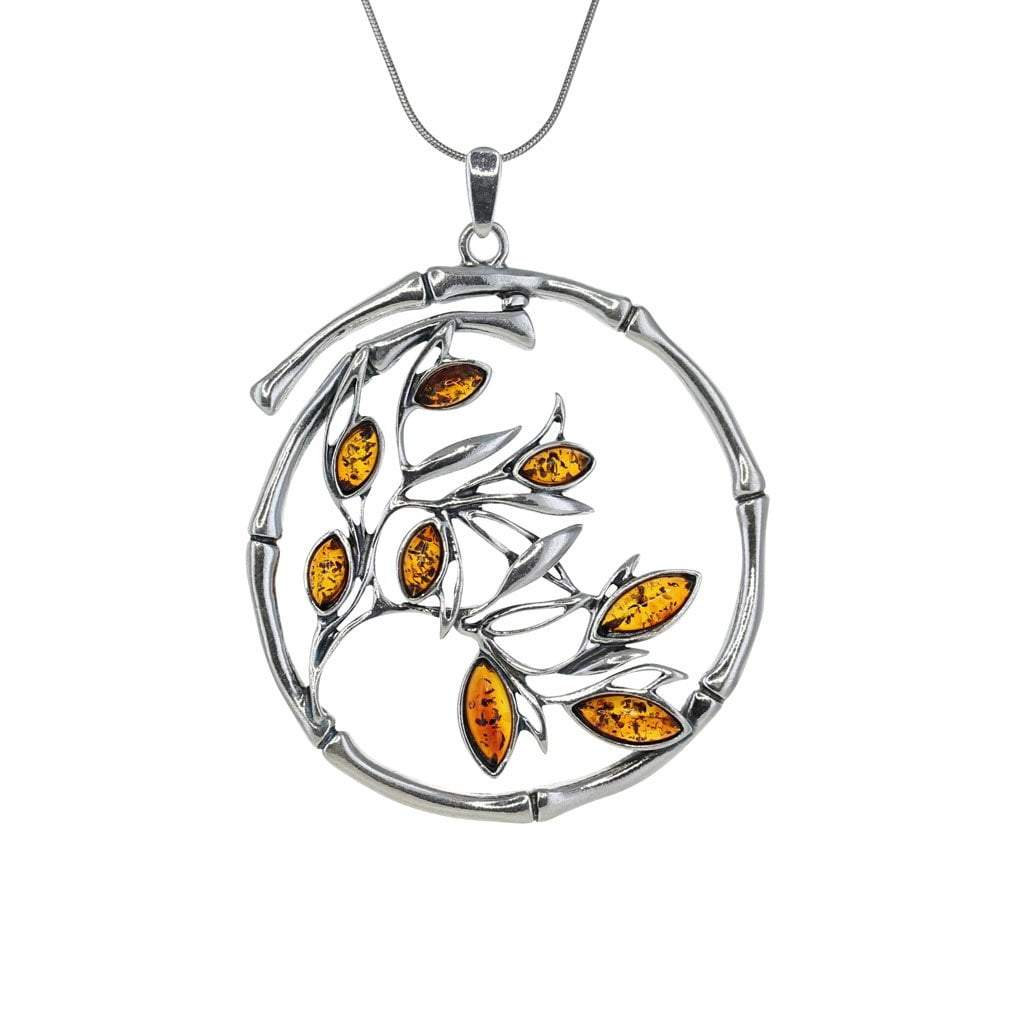 Honey Amber Bamboo Pendant in Sterling Silver