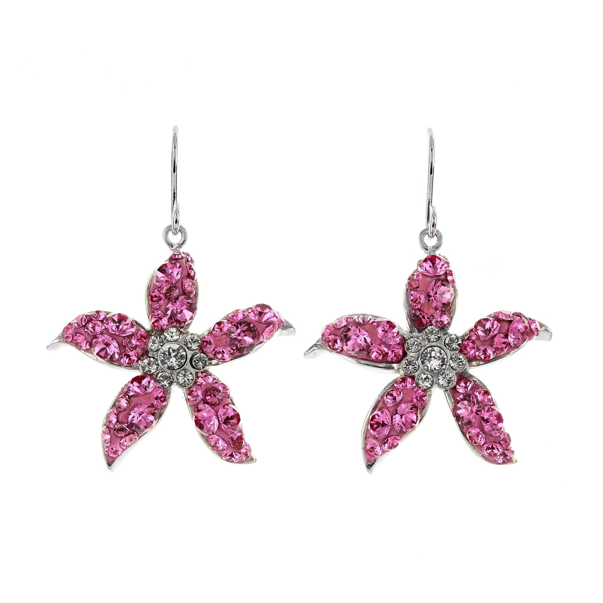 Pink Swarovski Crystal Flower Earrings