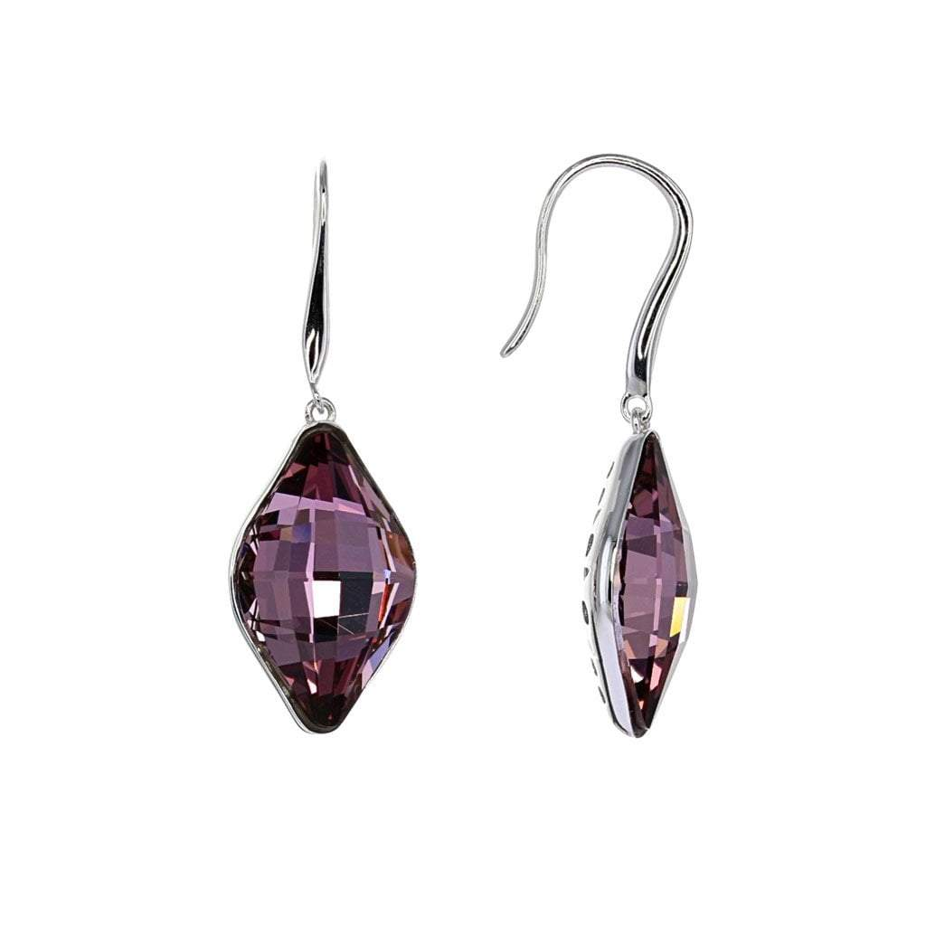 Swarovski Crystal Antique Pink Drop Earrings in Sterling Silver