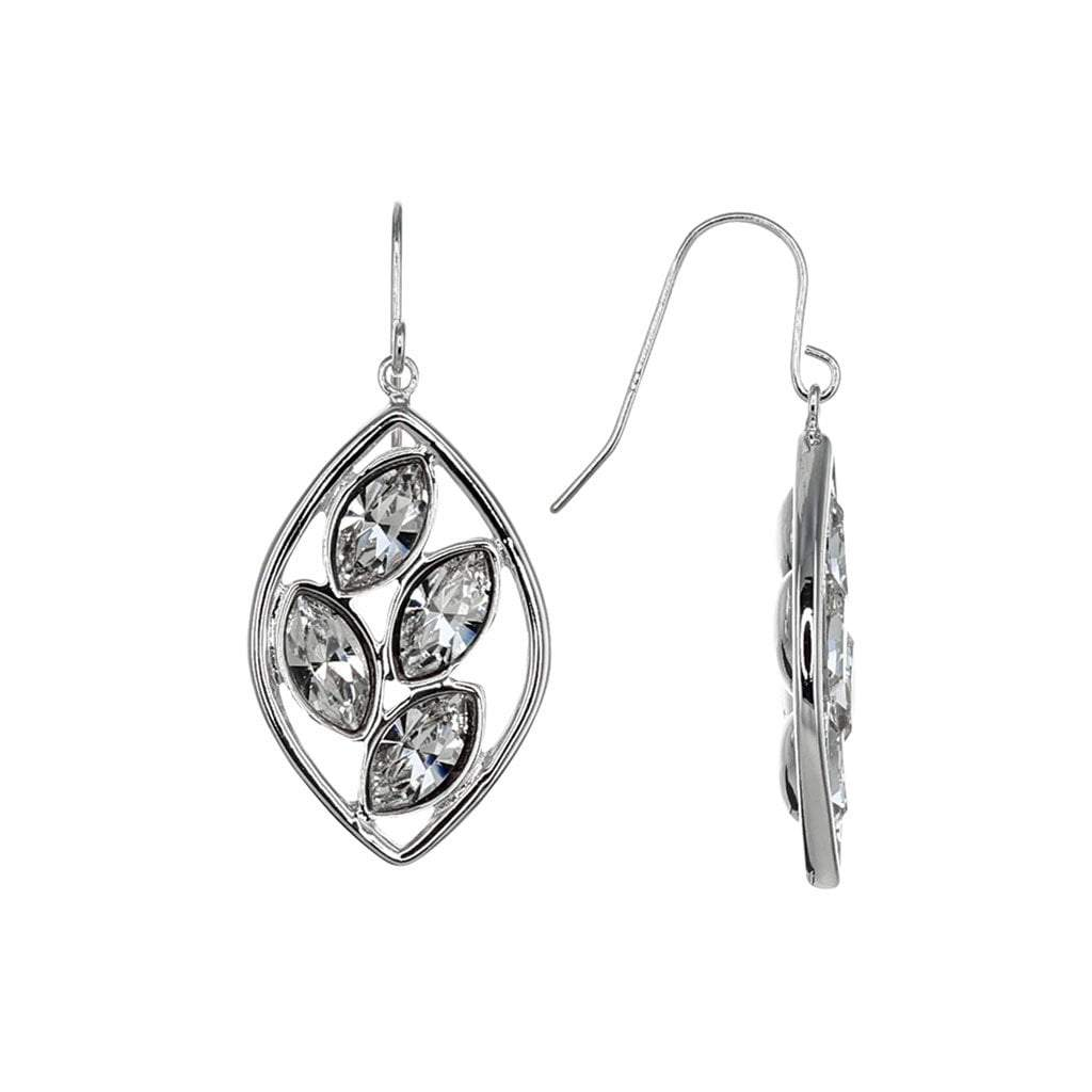 Crystal Collection Earrings Color / Silver Swarovski Crystal Leaf Earrings in Sterling Silver