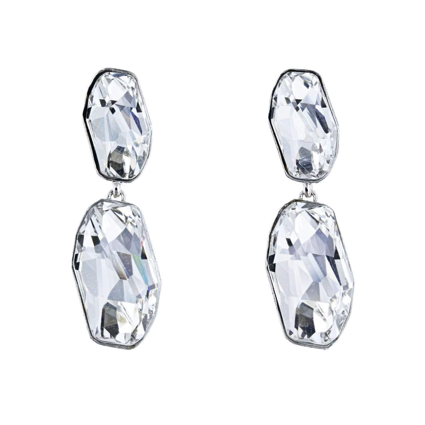Crystal Collection Earrings Color / Clear Modern Swarovski Crystal Earring in Sterling Silver