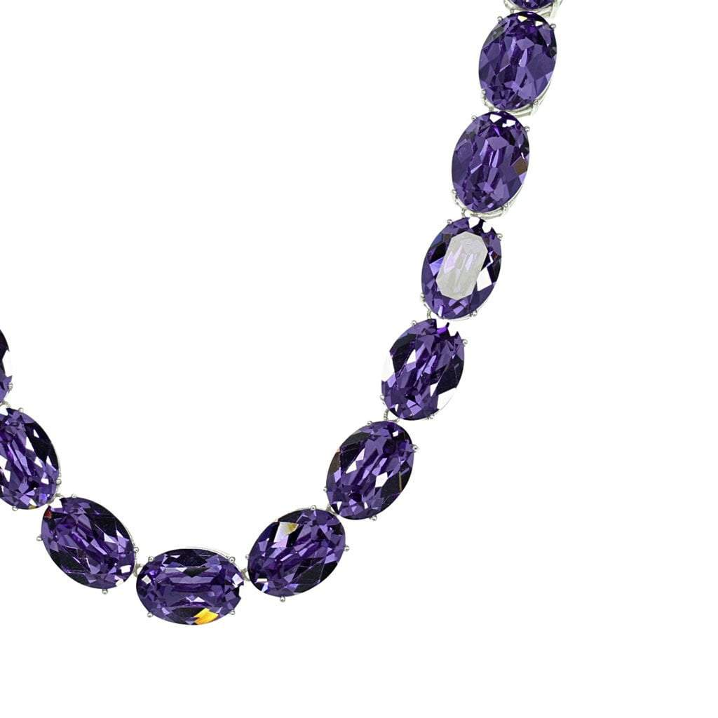 Crystal Collection Necklaces Color / Silver Oval Swarovski Crystal Tanzanite Necklace in Sterling Silver