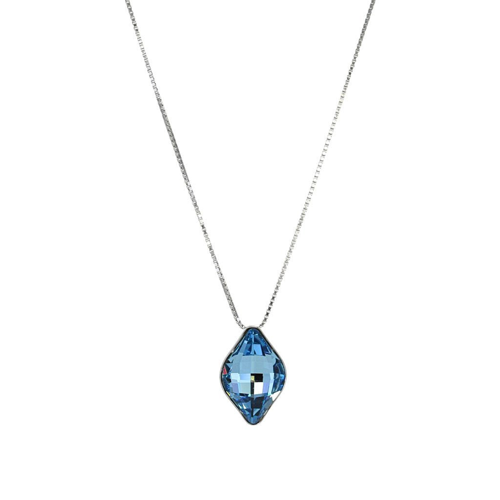 Swarovski Crystal Aquamarine Drop Necklace in Sterling Silver