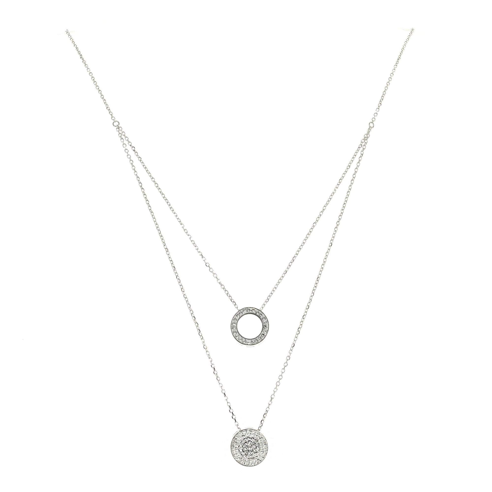 Crystal Collection Necklaces Color / Silver Swarovski Crystal Circle & Disc Layered Necklace