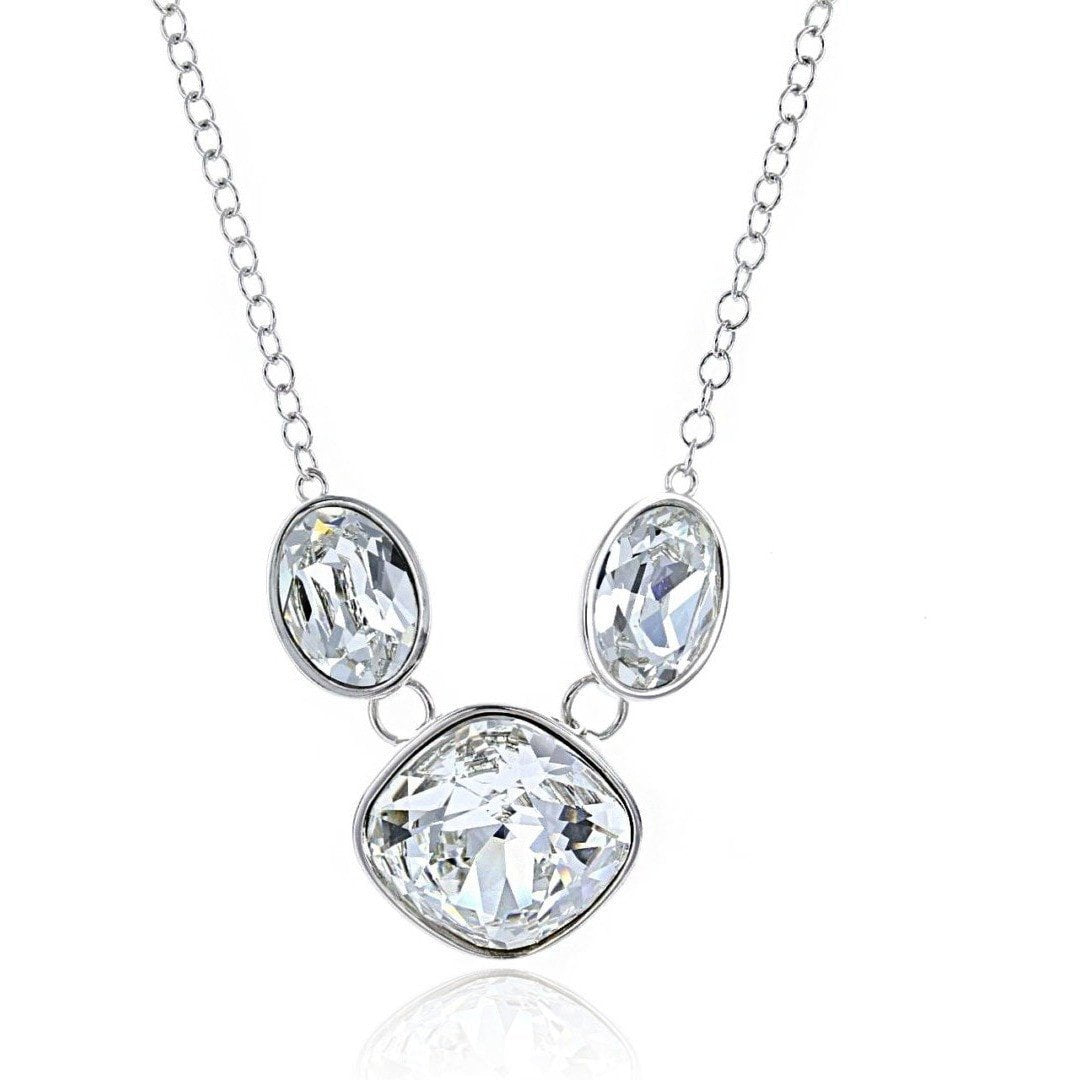 Crystal Collection Necklaces Color / Silver Swarovski Crystal Cushion & Oval Necklace in Sterling Silver