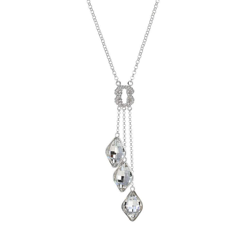 Swarovski Crystal Triple Drop Knot Necklace in Sterling Silver