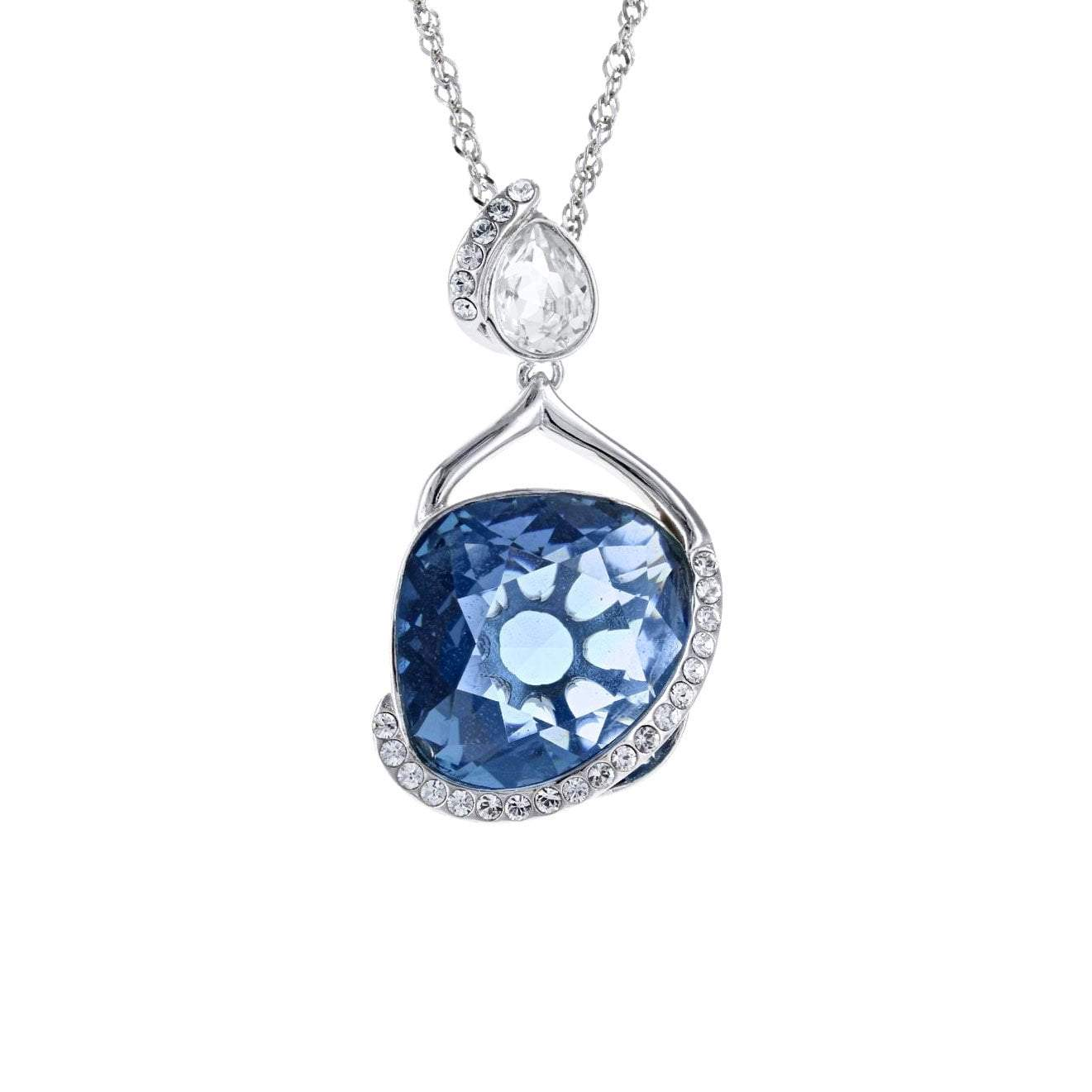 Swarovski Crystal Square Wrapped London Blue Drop Pendant in Sterling Silver