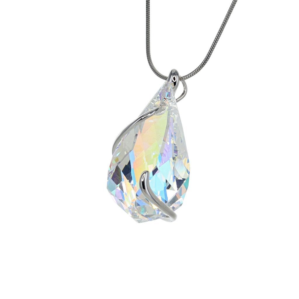 Crystal Collection Pendants Color / Silver Swarovski Crystal 3D Drop Pendant in Sterling Silver