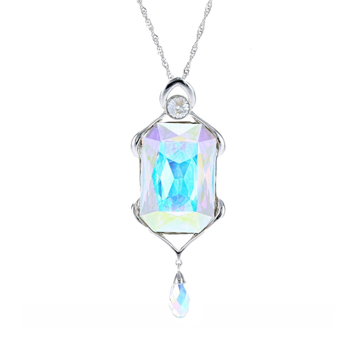Swarovski Crystal Aurora Borealis Large Rectangle Pendant in Sterling Silver