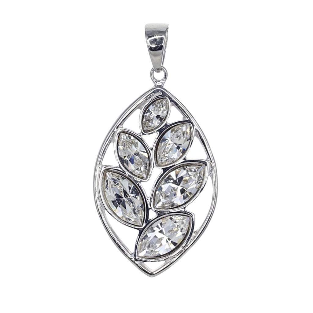 Swarovski Crystal Leaf Pendant in Sterling Silver