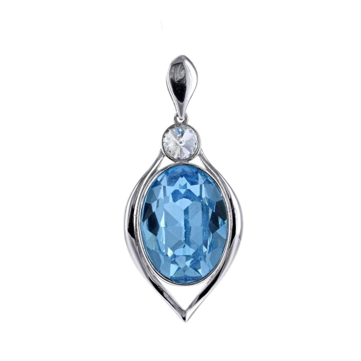 Swarovski Crystal Oval Aquamarine Pendant in Sterling Silver