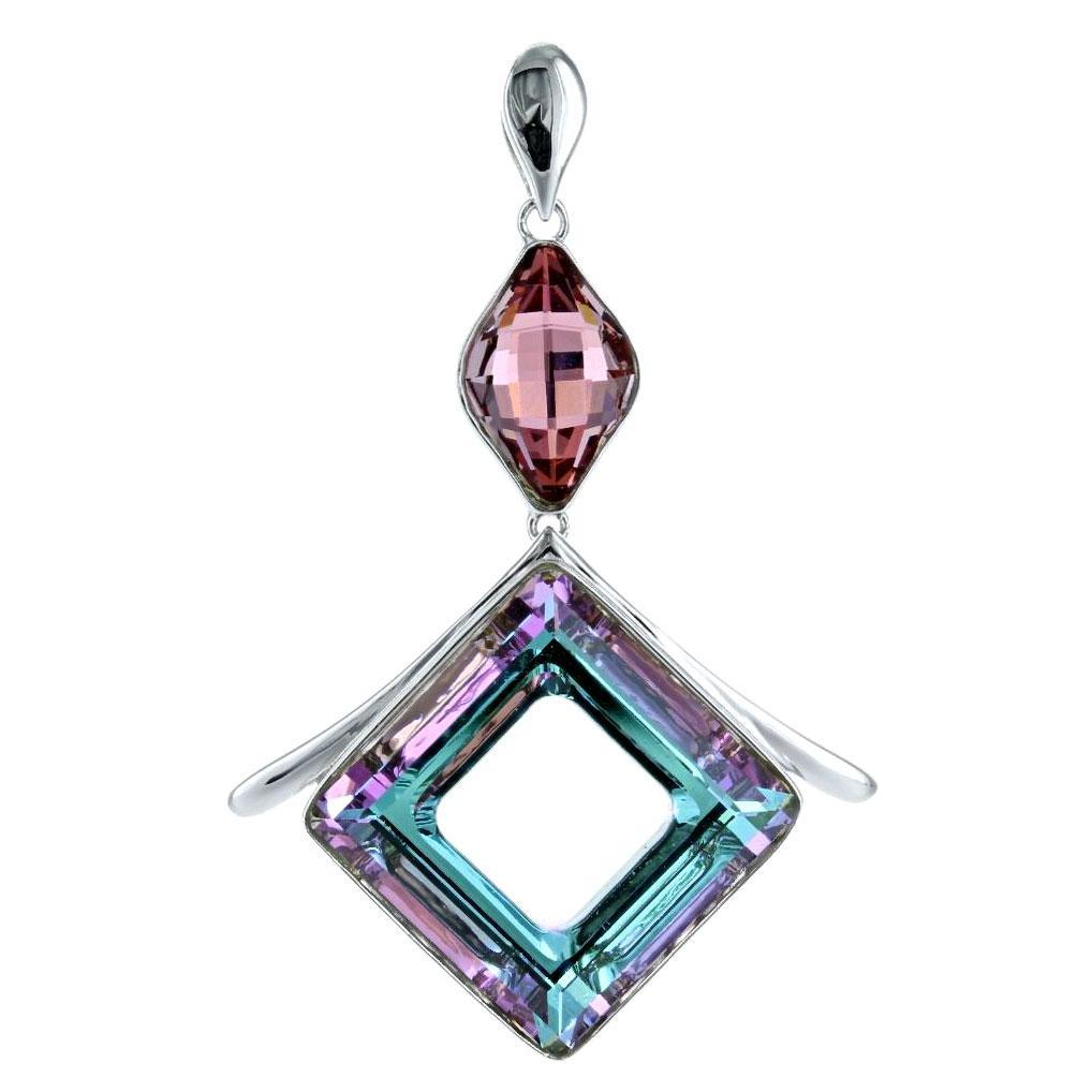 Swarovski Crystal Vitreal Light Open Diamond Shape Pendant in Sterling Silver