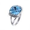 Swarovski Crystal Aquamarine Cushion Cut Ring