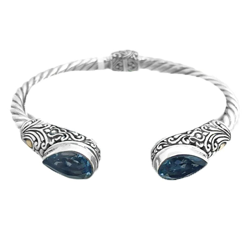 David Beck Bali Hinged Silver Cuff with Blue Topaz and Gold Detail
