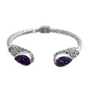 David Beck Bali Hinged Silver Cuff with Amethyst and Gold Detail