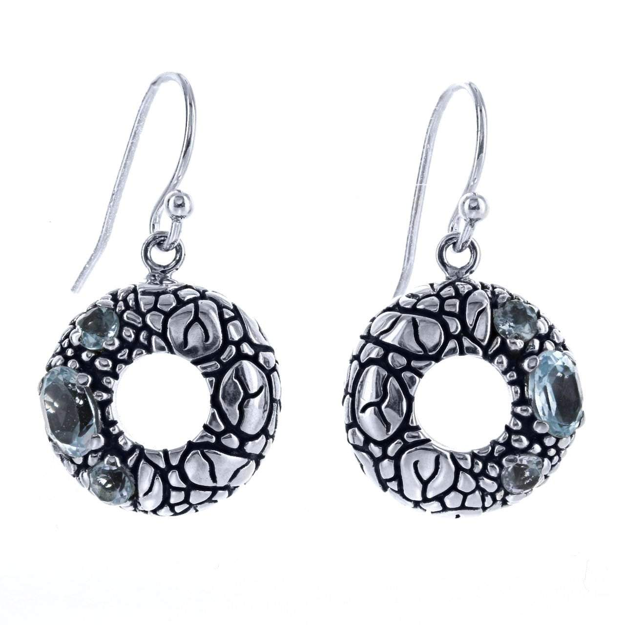 David Beck Bali Open Circle Earrings in Sterling Silver and Blue Topaz