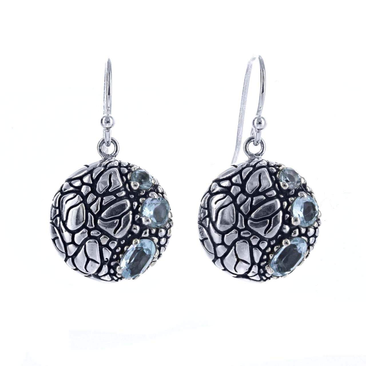 David Beck Bali Round Earrings in Sterling Silver and Blue Topaz