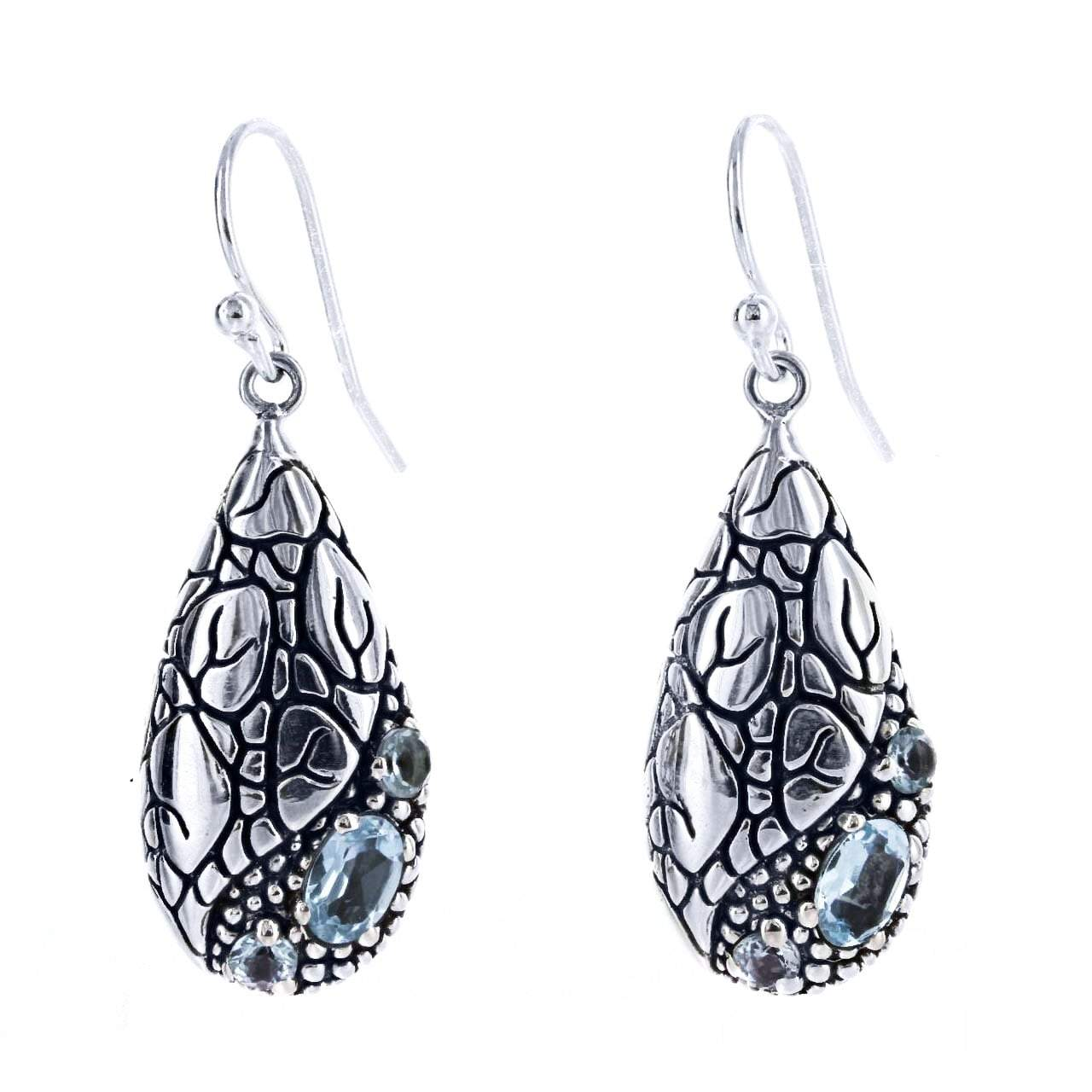 David Beck Bali Teardrop Earring in Sterling Silver and Blue Topaz