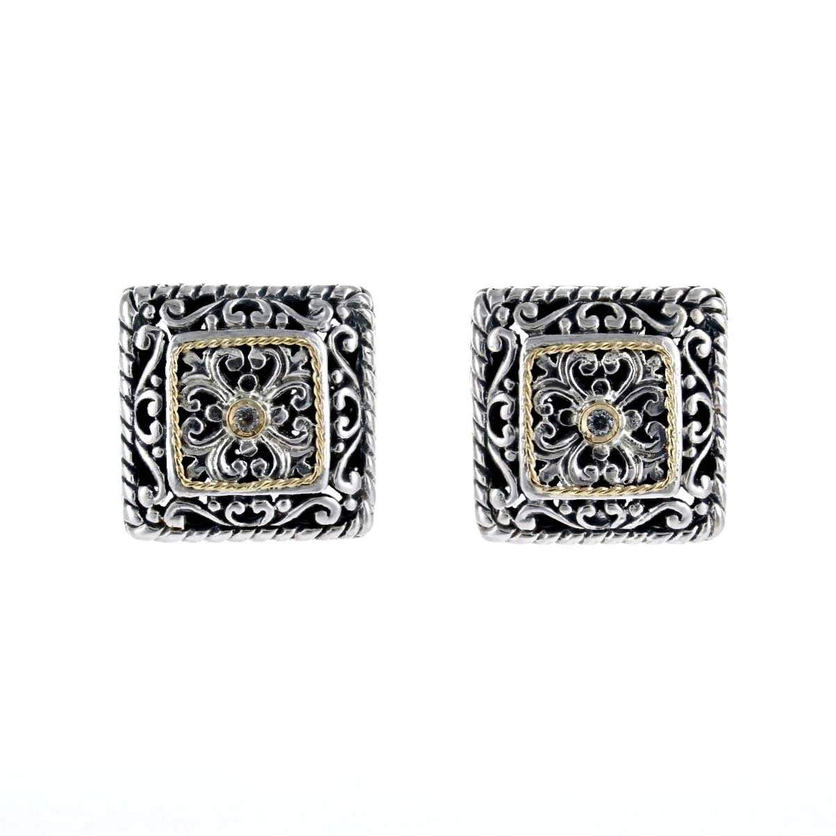 David Beck Bali Square Stud Earrings with Gold Detail