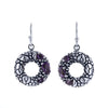 David Beck Bali Open Circle Earrings in Sterling Silver and Amethyst