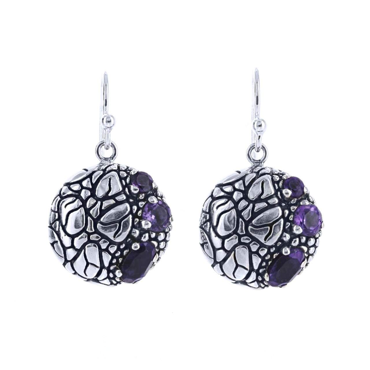 David Beck Bali Earrings Default Title / Silver / Purple David Beck Bali Round Earrings in Sterling Silver and Amethyst 1150490
