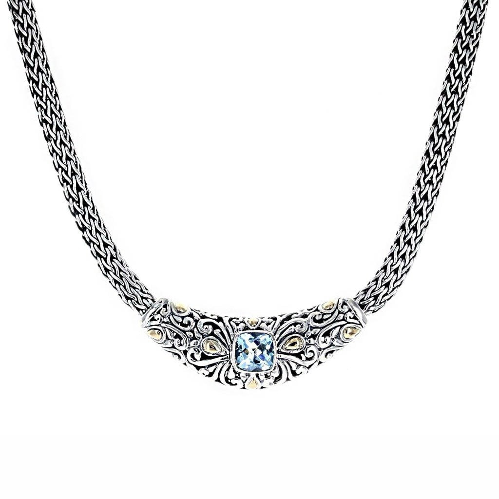 "David Beck Bali Necklaces Default Title / Blue David Beck Bali 16"" Necklace with Gold & Cushion Cut Blue Topaz 1150466"