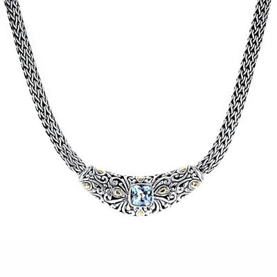 "David Beck Bali 16"" Necklace with Gold & Cushion Cut Blue Topaz"