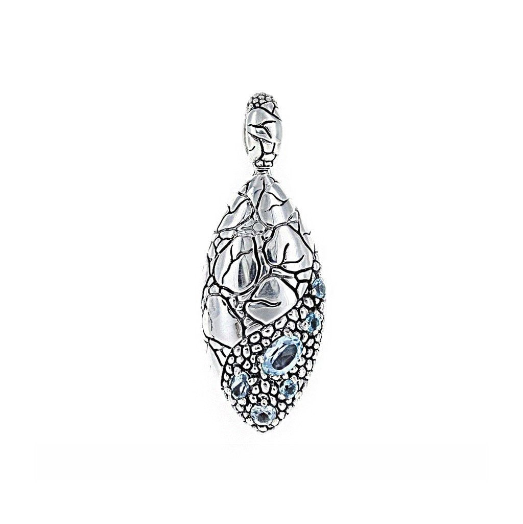 David Beck Bali Elipse Pendant in Sterling Silver and Blue Topaz
