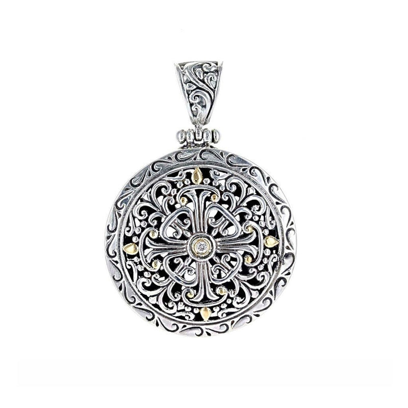 David Beck Bali Round Filigree Pendant with Gold Detail