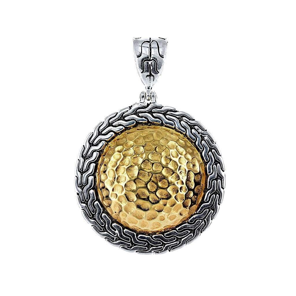 David Beck Bali Round Silver and 14K Gold Pendant