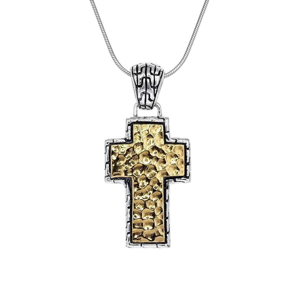 David Beck Bali Silver and 14K Gold Cross Pendant