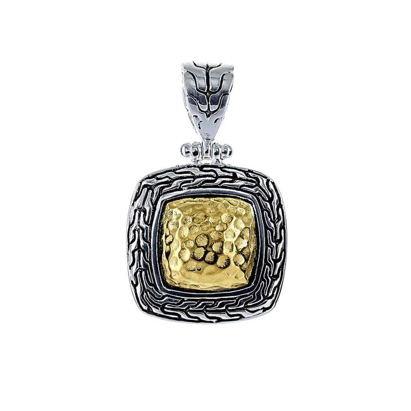 David Beck Bali Silver and 14K Gold Square Pendant
