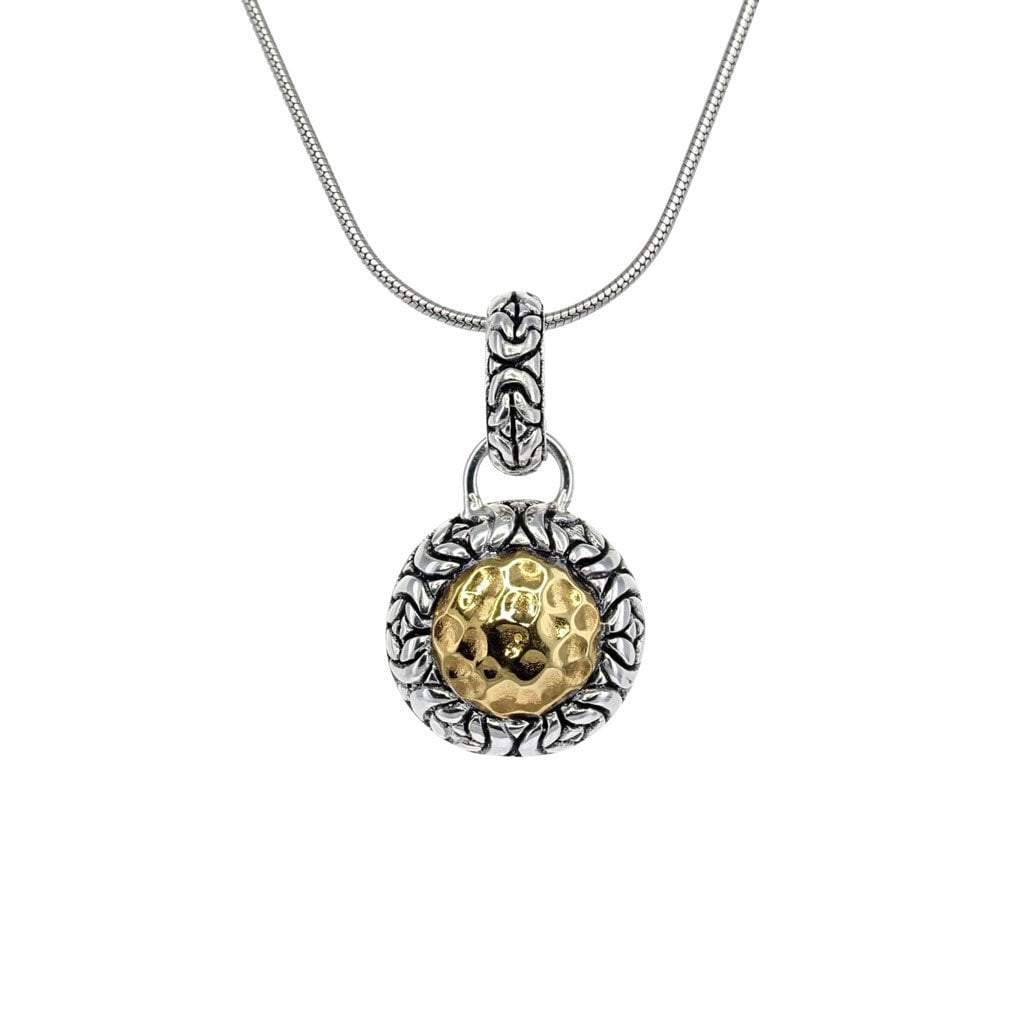 David Beck Bali Small Round Silver and 14K Gold Pendant