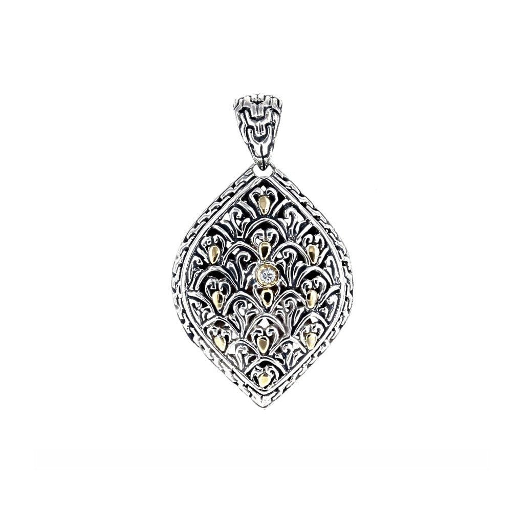 David Beck Bali Turned Eye Filigree Pendant with Gold Detail