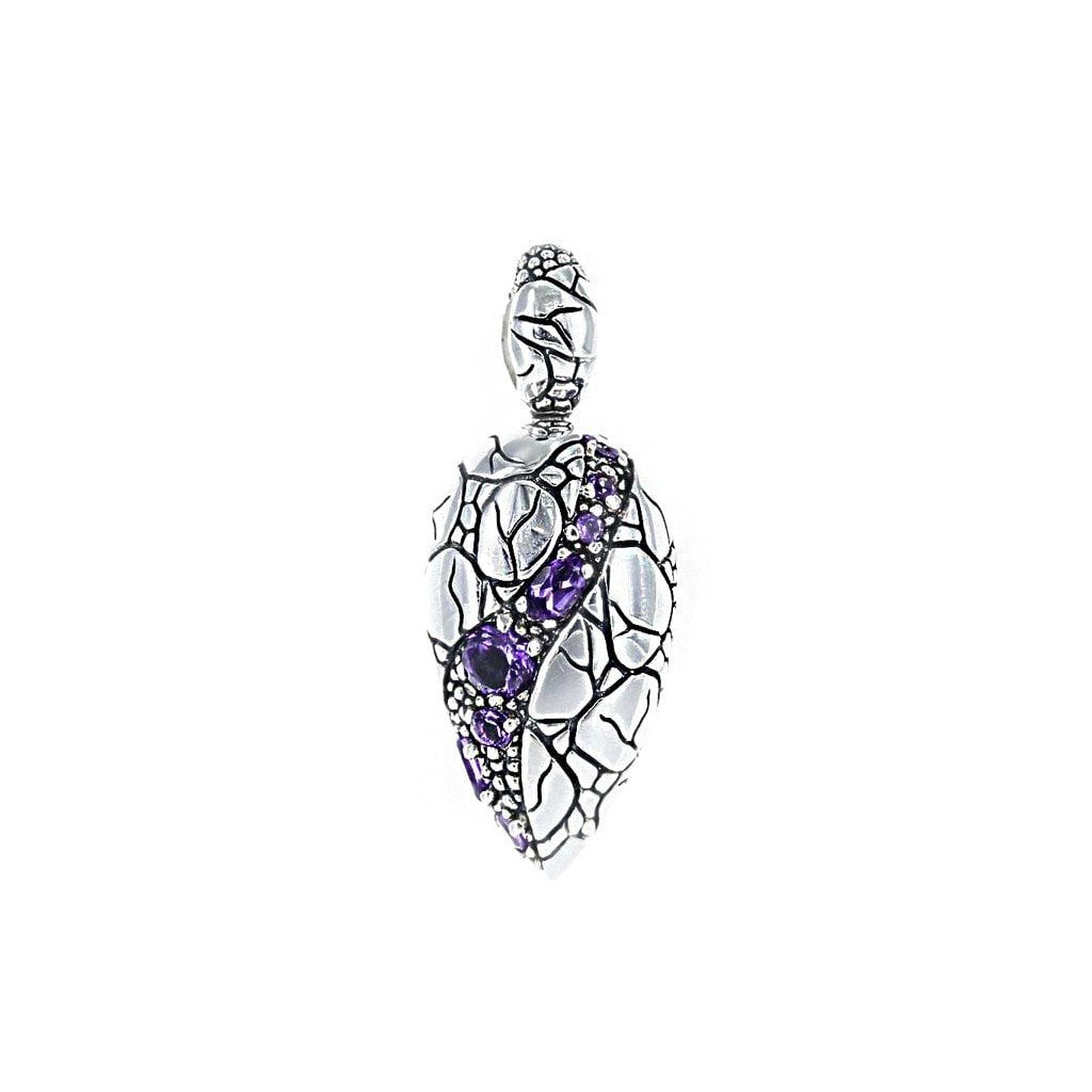 David Beck Bali Leaf Pendant in Sterling Silver and Amethyst